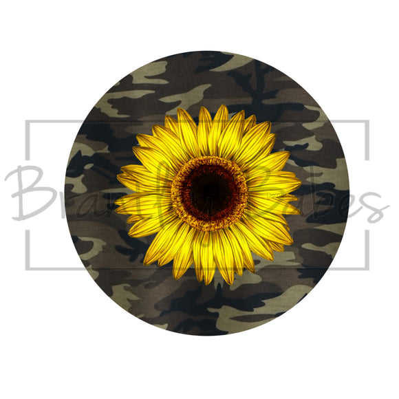 Camo Sunflower Round Sublimation Transfer