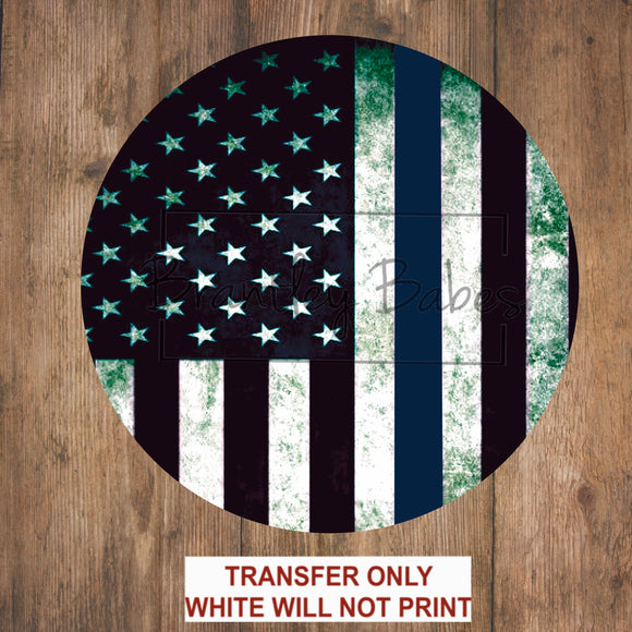 First Responder Law Enforcement Line Flag Round Sublimation Transfer