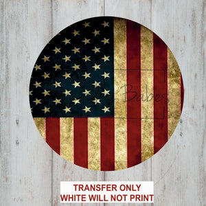 American Flag Round Sublimation Transfer