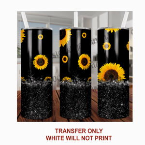 Black Glitter & Sunflower Tumbler Sublimation Transfer