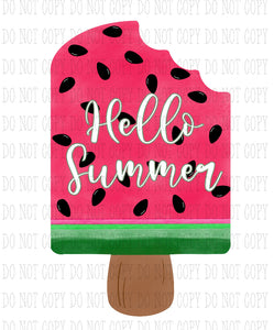 Hello Summer Watermelon Popsicle Sublimation Transfer