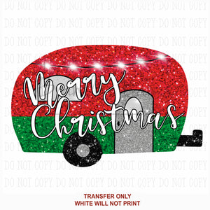 Glitter Merry Christmas Camper Sublimation Transfer