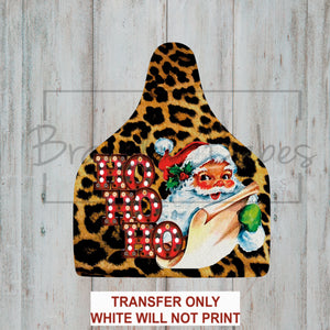Leopard Santa Cow Tag Sublimation Transfer