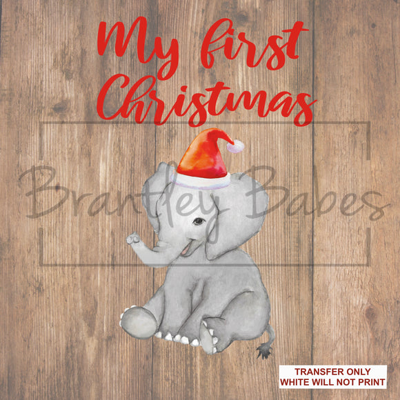 My First Christmas Elephant Sublimation Transfer