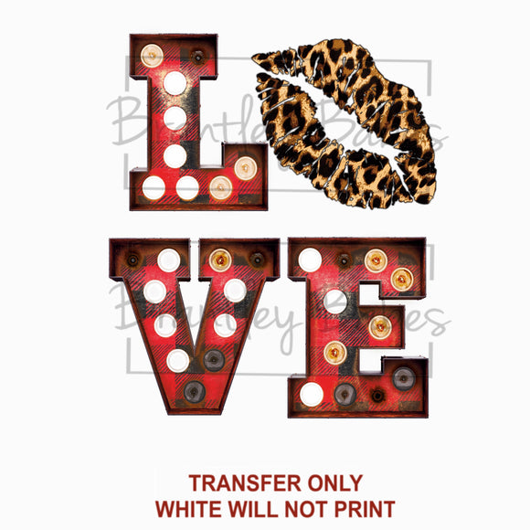 Marquee Love & Leopard Valentine Sublimation Transfer