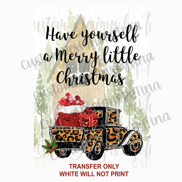 Merry Little Christmas Leopard Vintage Truck Sublimation Transfer