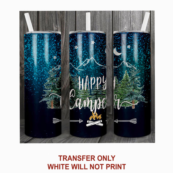 Navy Blue Happy Camper Tumbler Sublimation Transfer