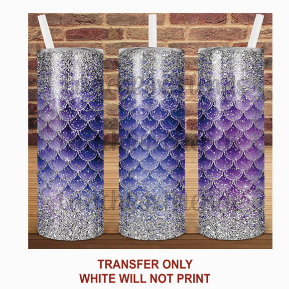 Purple & Sliver Mermaid Scales Tumbler Sublimation Transfer