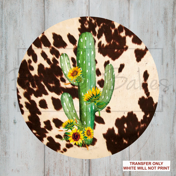 Cactus & Cowhide Round Sublimation Transfer
