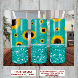 Sunflower & Turquoise Glitter Tumbler Sublimation Transfer
