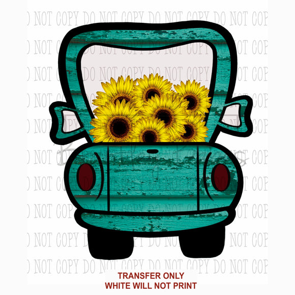 Turquoise & Sunflower Truck Sublimation Transfer