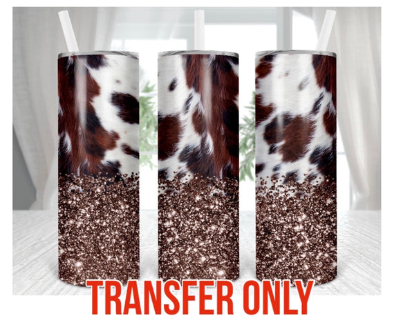 Cowhide & Glitter Tumbler Sublimation Transfer