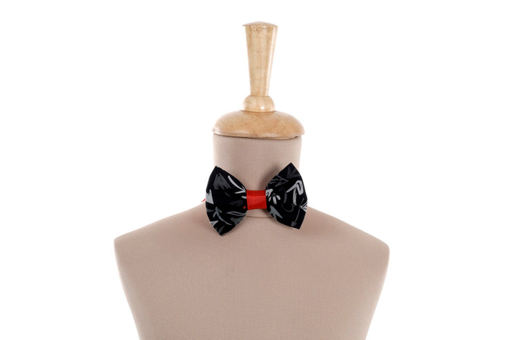 Black Bow Tie with Grey and White Print