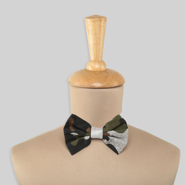 Green and Grey Camouflage Bowtie