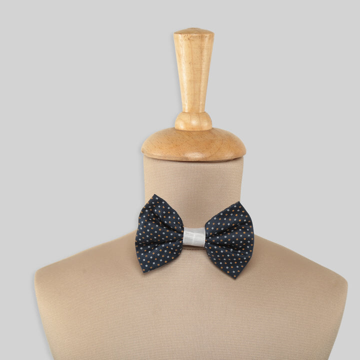 Dark Blue Cotton Bowtie with White and Yellow Polka Dots