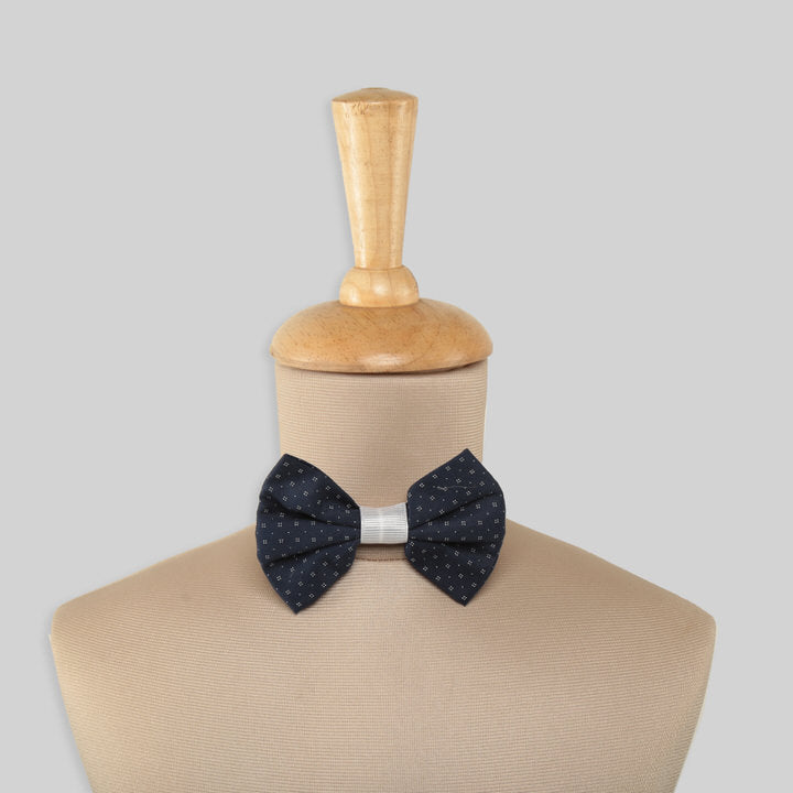 Navy Blue Cotton Bow Tie With White Dots