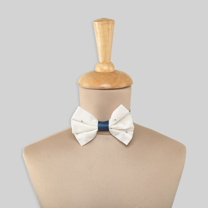 White Bow Tie For Boys With Blue Dots