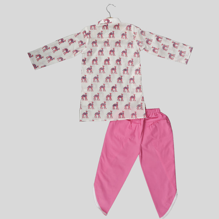 White and Pink Cotton Kurta Pyjama Set For Boys with Camel Print