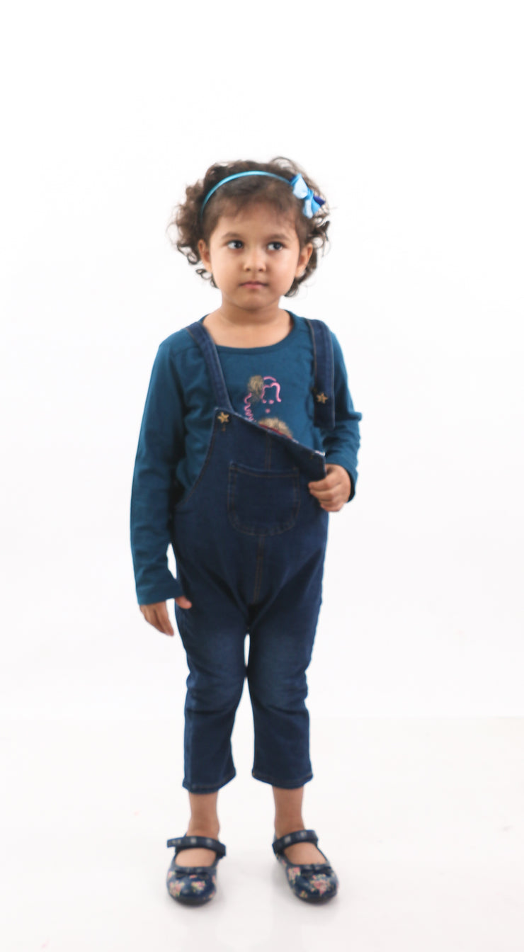 Kitty Cat Dungarees For Girls