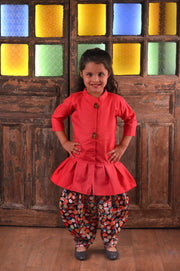 Pink Top And Multicolour Dhoti Pant Set For Girls