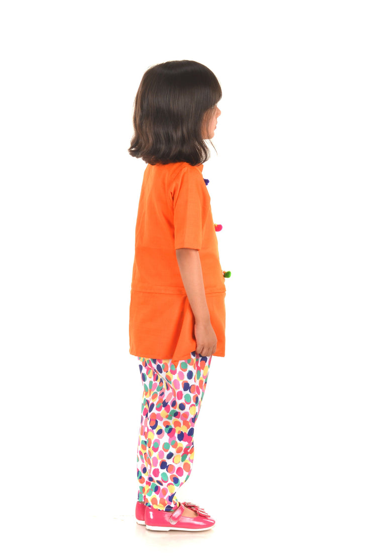 Orange Peplum Top and Multicolour Pant Set