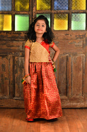 Red and Beige Blouse and Jacquard Ghaghra Set