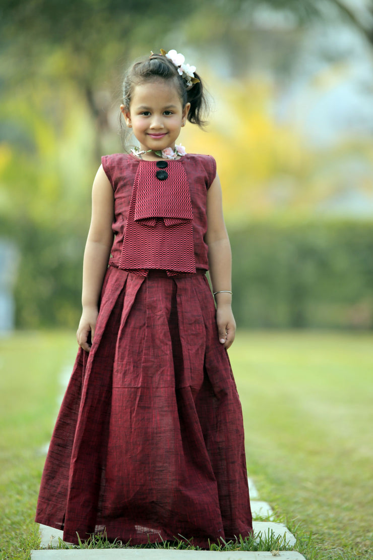 Maroon Cotton Top and Skirt Set