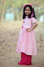 Pink Kurta and Magenta Cotton Pant Set