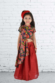 Floral Blue Top and Maroon Silk Ghaghra Set
