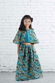 Greenish Blue Silk Top and Skirt Set