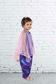 Pink Cape with Purple Printed Top and Dhoti Pant Set