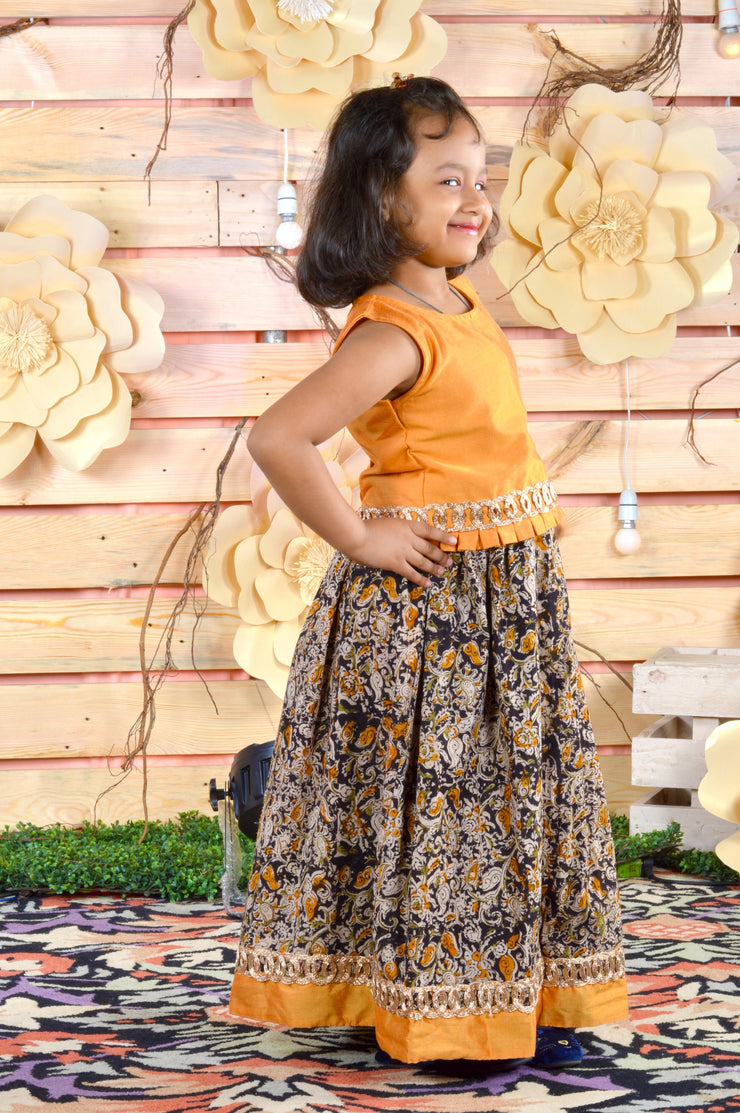Fancy Yellow Top with Printed Skirt