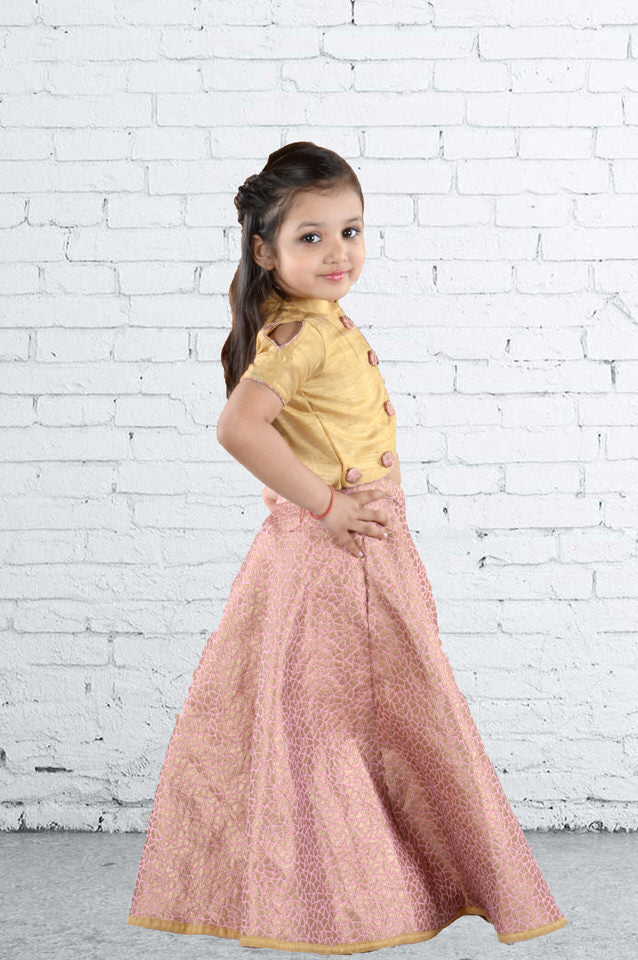 Fitted Beige Top with Cold Shoulders and Mandarin Collar with Pink-Golden Jaquard Ghaghra