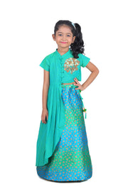 Green Cotton Fitted Asymmetrical Top with Flower Motif and Blue-Green Jaquard Ghaghra with Handwork Butta