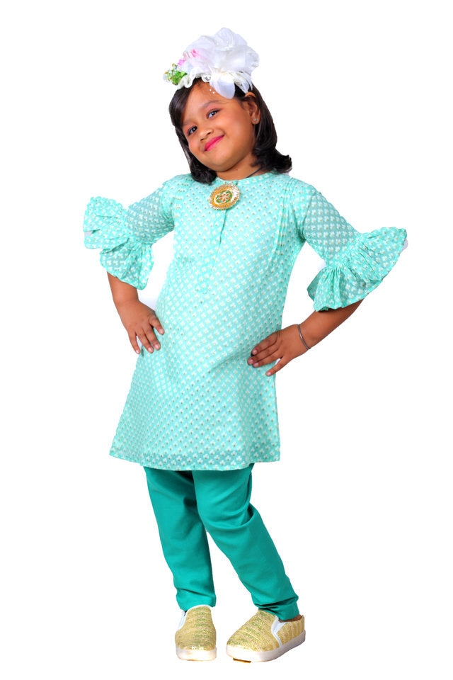 Turquoise Chanderi A-Line Kurti for Girls and Straght Cotton Trousers