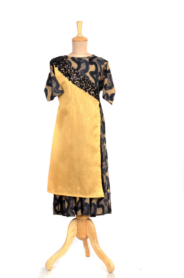 Rayon and Art Silk Beige and Black Angrakha