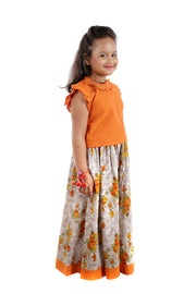 Sleeveless A-Line Orange Cotton Top With Ruffles at the neckline and Flaring Grey Floral Print Cotton Skirt