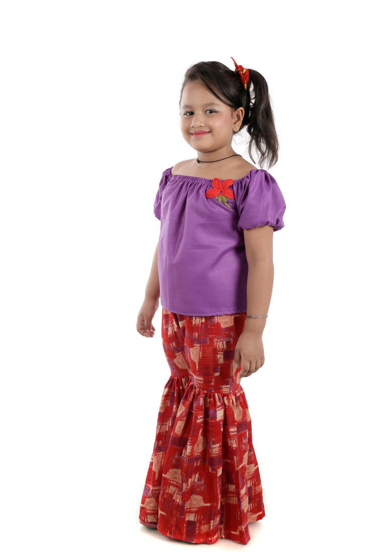 Purple Top and Red Sharara Set