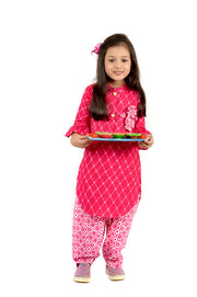 Pink Cotton Kurti and Salwar Set