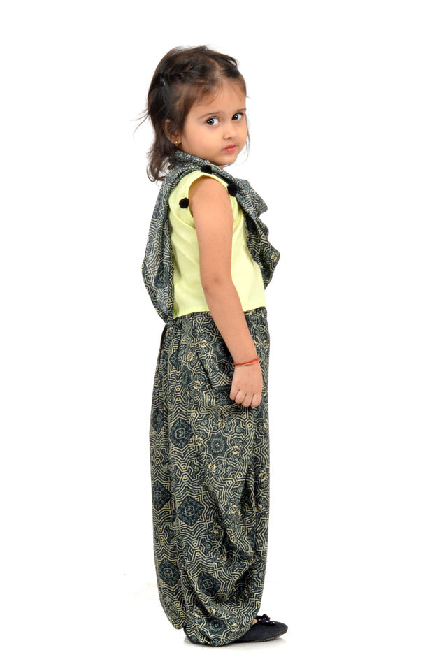 Pale Green Cotton Sleeveless Top with Black Rayon Dhoti Pants and Scarf