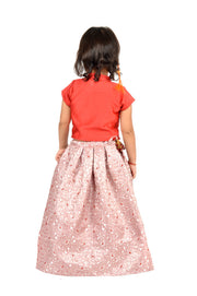 Fancy Red Straight Top wth Mandarin Collar and Swarovski Elements with Pink Jaquard Skirt