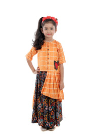 Saffron Silk Top and Black Printed Cotton Skirt