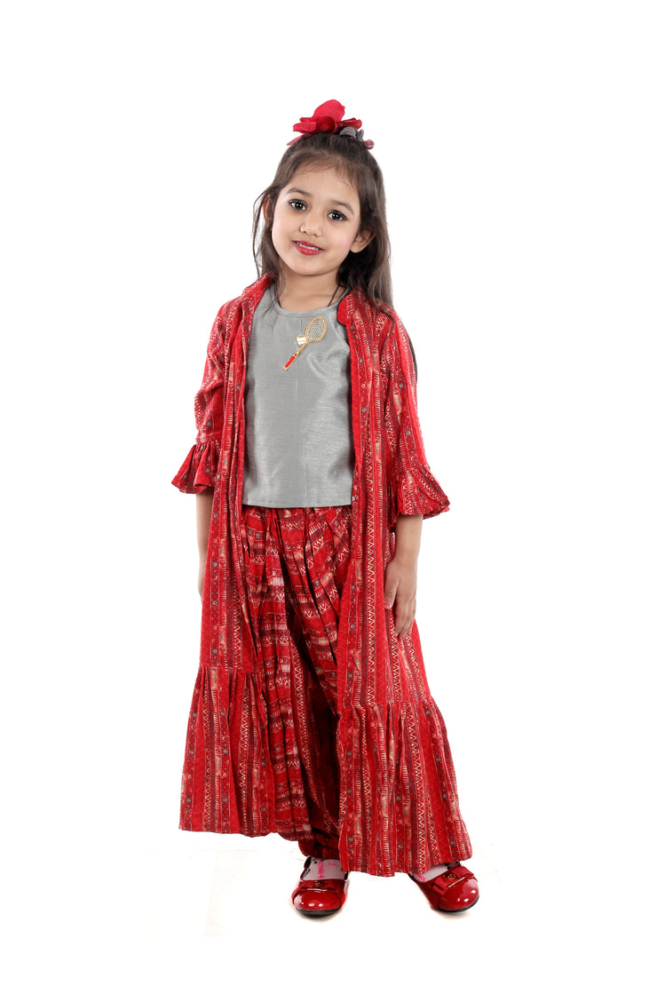 Grey Silk Blouse with Red Rayon Dhoti and Jacket