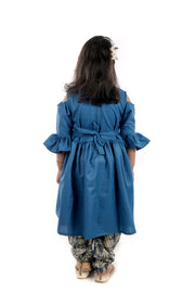 Blue Cotton Kurti With Rayon Dhoti Pant
