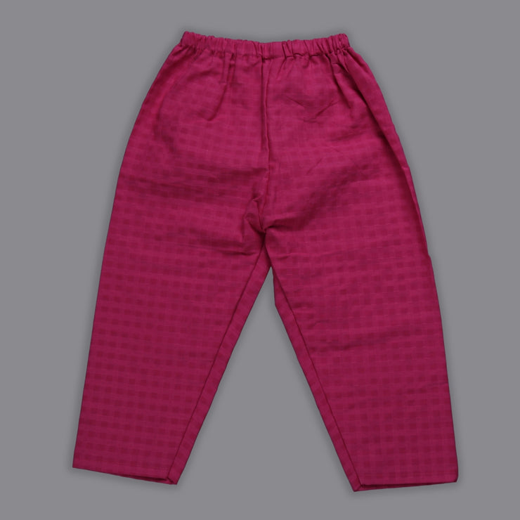 Blue Rayon Top and Magenta Cotton Pant Set