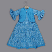 Blue Cotton Frock and Jacket Set