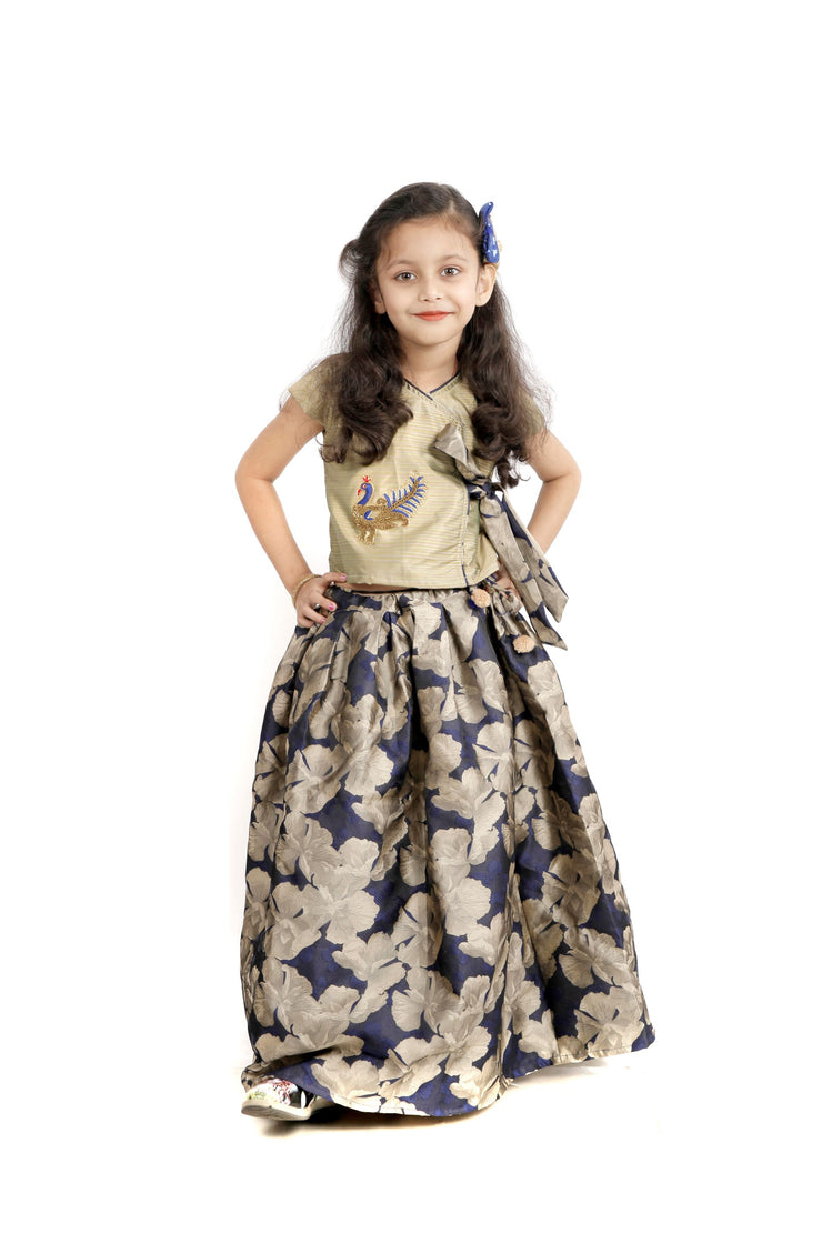 Blue & Beige Indo-Western Top & Skirt with Peacock Motif