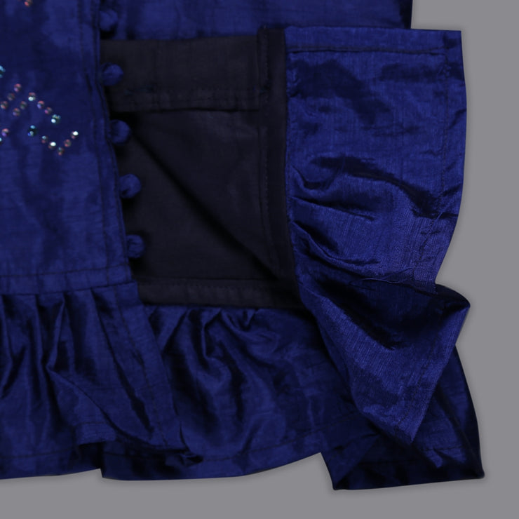 Fancy Blue Blouse and Jacquard Ghaghra Set