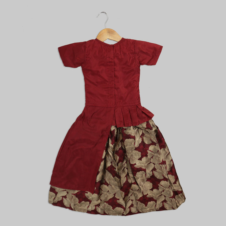 Red Blouse with Motif and Beige Jaamewar Ghaghra