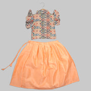 Multi-coloured Cotton Top and Peach Art Silk Skirt